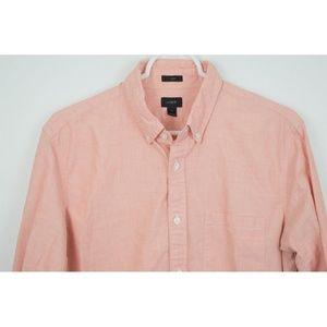 J Crew Orange Shirt Medium Slim Long Sleeve Button